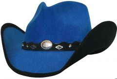 Modestone Kids ''Faux Felt'' Cowboy Hat Black Under Brim Concho Hatband Blue