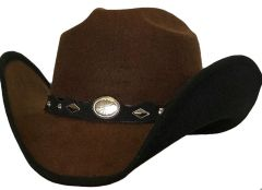 Modestone Kids ''Faux Felt'' Cowboy Hat Black Under Brim Concho Hatband Brown