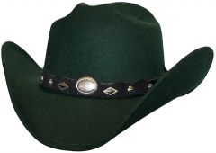 Modestone ''Faux Felt'' Cowboy Hat Concho Hatband Green