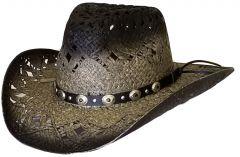 Modestone Unisex Straw Cowboy Hat Breezer Grey