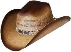 Modestone Unisex Straw Cowboy Hat Bangora Breezer Beige