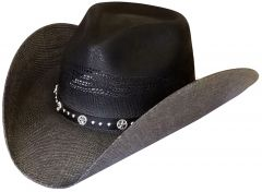 Modestone Unisex Straw Cowboy Hat Bangora Breezer Black