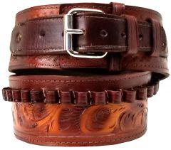Modestone 44/45 cal Western High Ride/Rise Leather Gun Belt *NO HOLSTERS* Beige