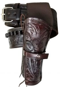 Modestone 22 Cal Western Left High Ride/Rise Holster Gun Belt Rig Leather