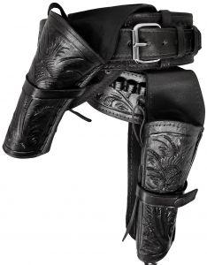 Modestone 22 Cal High Ride Left Cross Draw Double Holster Gun Belt Rig Leather