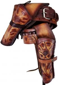Modestone 357/38 High Ride Left Cross Draw Double Holster Gun Belt Rig Leather