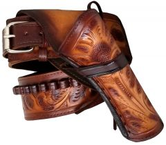 Modestone 44/45 RIGHT Cross Draw High Ride/Rise Holster Gun Belt Rig Leather