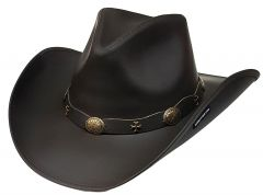 Modestone Unisex Leather Cowboy Hat Wide-brim maltese crosses Brown