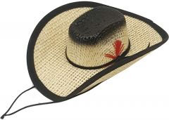 Modestone Straw Pet Cowboy Hat Elastic String Feather Black
