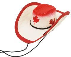 Modestone Straw Pet Cowboy Hat Canada Maple Leaf Elastic String Feather Red