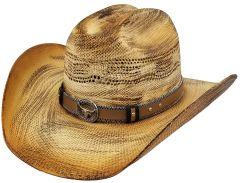 Modestone Unisex Straw Cowboy Hat Bangora Hand Painted Beige