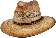 Modestone Unisex Straw Cowboy Hat Bangora Studs Hand Painted Beige