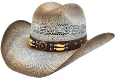 Modestone Unisex Straw Cowboy Hat Bangora Hand Painted Blue