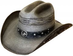 Modestone Unisex Straw Cowboy Hat Bangora Studs Appliques Grey