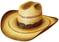 Modestone Unisex Straw Cowboy Hat Wide Brim Studs Hand Painted Beige