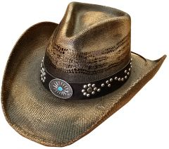 Modestone Unisex Straw Cowboy Hat Bangora Studs Hand Painted Brown