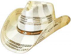 Modestone Unisex Straw Cowboy Hat Studs Breezer Beige