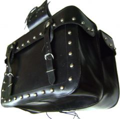 "Modestone Solid Pair Leather Saddle Bags Metal Studs, Embossed Eagles, Fringed Metal Conchos, 18"" x 12 3/4"" x 6 1/3"" Black"
