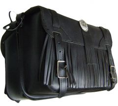 "Modestone Pair Leather Saddle Bags, Fringes, Metal Engine Conchos 15"" x 9 3/4"" x 6 3/4"" Black"