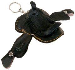 Modestone Small Leather Saddle Key Holder Black