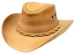 Modestone Unisex Leather Cowboy Hat Tan