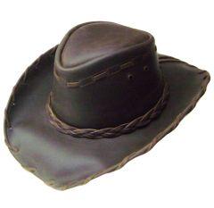 Modestone Unisex Leather Cowboy Hat Lacing Brown