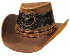 Modestone Weathered Antiqued Leather Cowboy Hat Crocodile Skin Pattern Applique