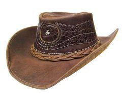 Modestone Unisex Leather Cowboy Hat Crocodile Skin Pattern Applique Brown