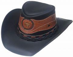 Modestone Unisex Leather Cowboy Hat Crocodile Skin Pattern Applique Black