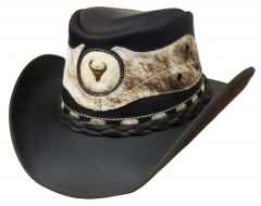 Modestone Unisex Leather Cowboy Hat ''Hair On'' Cowhide Applique Brown