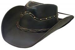 Modestone Unisex Leather Cowboy Hat Studs Brown