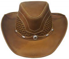 Modestone Unisex Leather Cowboy Hat Breezer Straw Crown Chinstring Brown