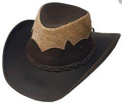 "Modestone Unisex Leather Cowboy Hat ""Hair On"" Cowhide Applique Brown"