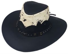 """Modestone Unisex Leather Cowboy Hat """"Hair On"""" Cowhide Applique Black"""