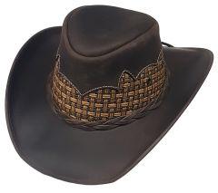 Modestone Unisex Leather Cowboy Hat Breezer Straw Crown Brown