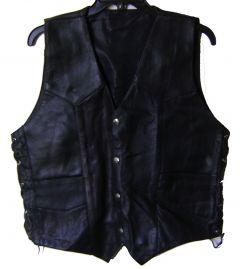 Modestone Men's Leather Vest Black