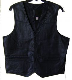 Modestone Men's Leather Vest L Black