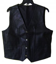 Modestone Men's Leather Vest S Black