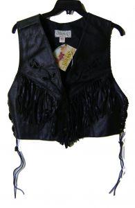 Modestone Women's Leather Vest Suede Flowers Fringes Conchos XL Black