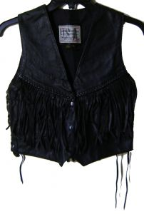 Modestone Women's Leather Vest Angled Braids Fringes Conchos S Black