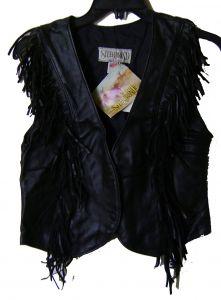 Modestone Women's Leather Vest Vertical Fringe S Black