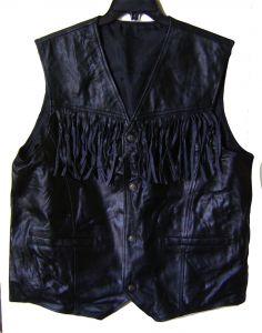 Modestone Men's Leather Vest Straight Pockets Fringe Black