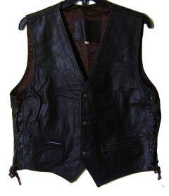 Modestone Men's Leather Vest Side Lacing XL Brown