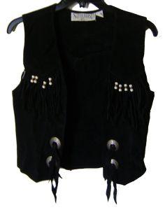 Modestone Women's Conchos Beads Fringes Suede Vest M Black