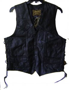 Modestone Men's Horse Patch On Back Leather Braid Vest Lacing On Sides Black