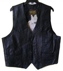 Modestone Men's Horse Patch On Back Leather Vest 52 Black