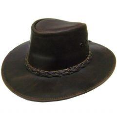 Modestone Unisex Leather Cowboy Hat Aussie Shape Brown